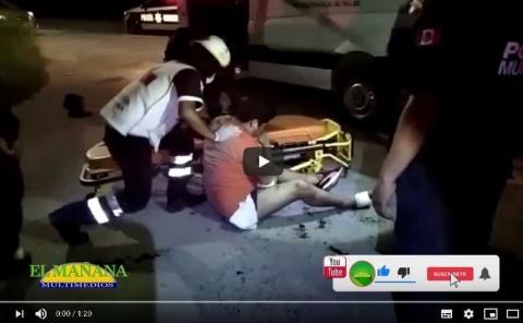 Motociclista herido al ser atropellado; Libramiento Poniente, Cd. Valles.