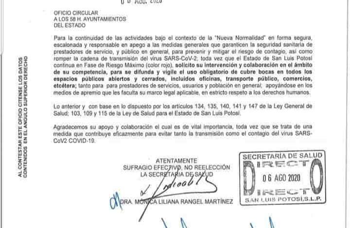 Uso de cubrebocas es obligatorio en Tamuín