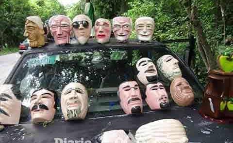 Máscaras de madera tradición de Jaltocán