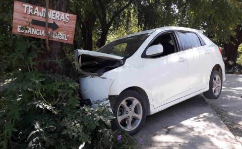Vehículo chocó contra un árbol
