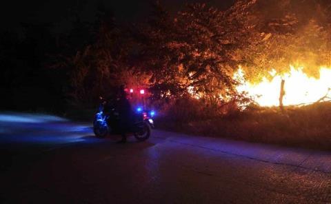 Incendio junto a corralón de autos