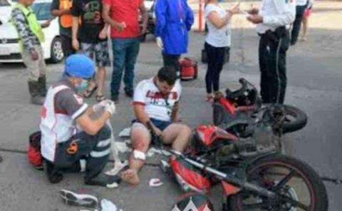 Motociclista herido  tras fuerte choque