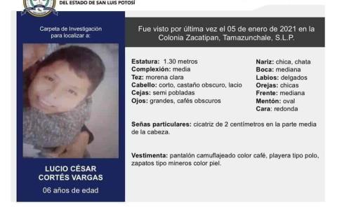 Activan búsqueda de un niño de seis años