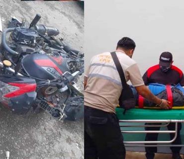 Motociclista atropellado por urvan en Tamán