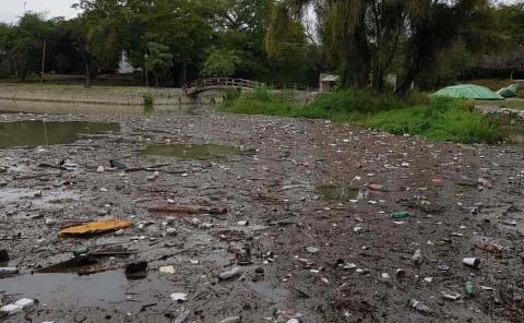 Toneladas de basura al río