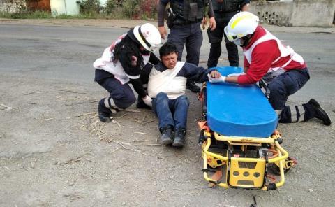 Motociclista sufrió una aparatosa caída