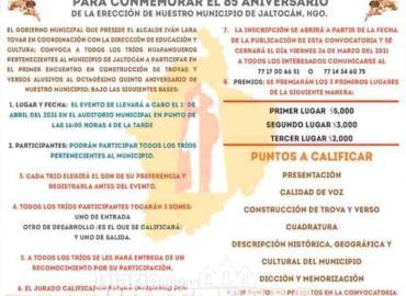 Celebrarán aniversario de erección del municipio