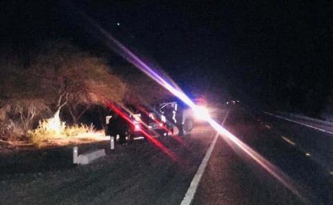 Auto destrozado al  chocar contra vaca
