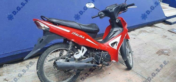 Aseguraron motocicleta