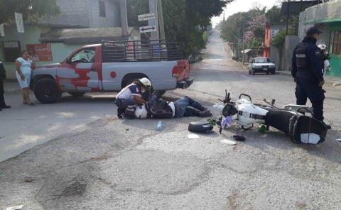 Cobrador de banco derrapó en su moto