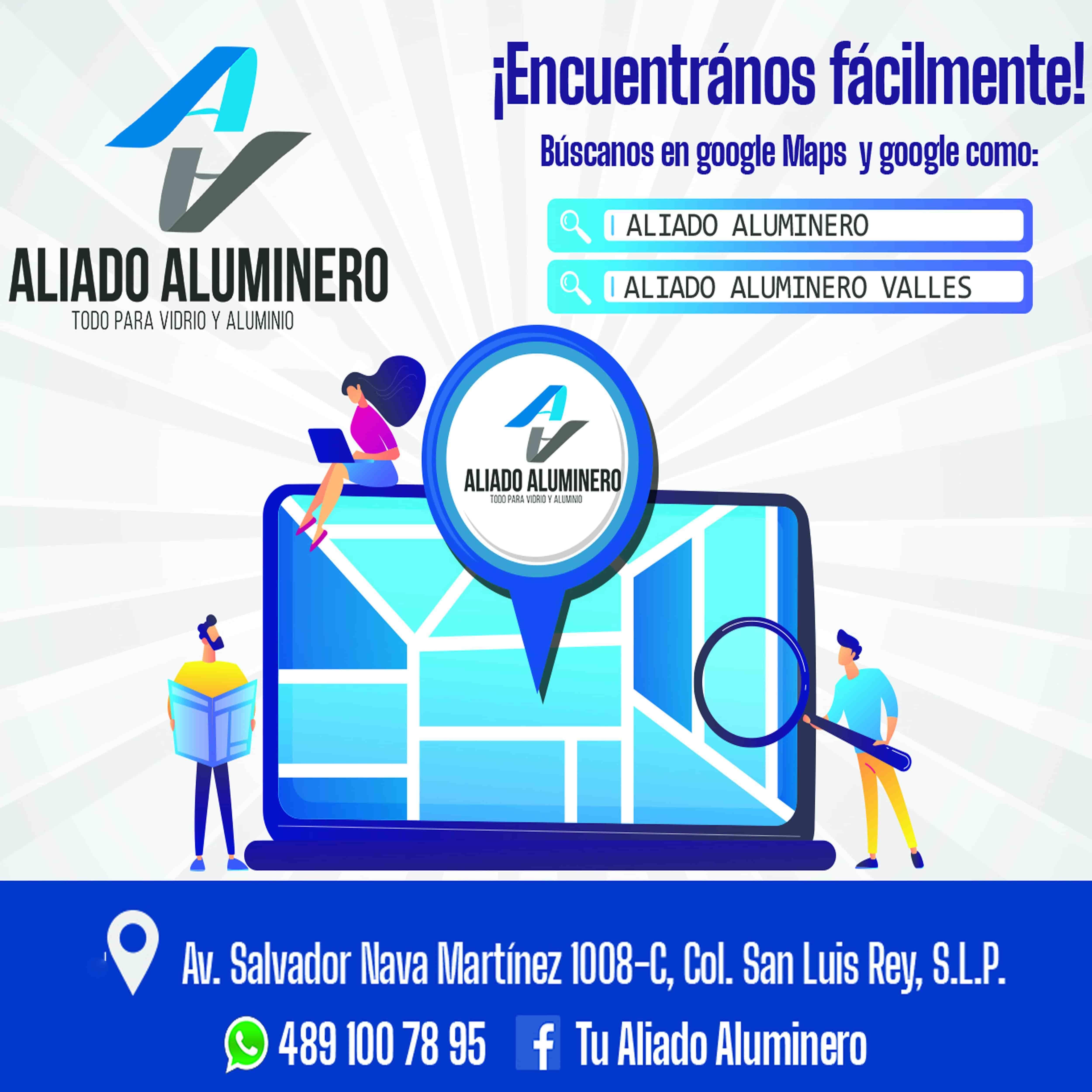 ALIADO ALUMINERO ,TODO PARA VIDRIO Y ALUMINIO ,¡ENCUENTRANOS  FACILMENTE!