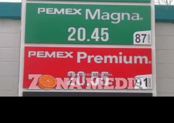 Precio de la gasolina está en 20.45 el litro