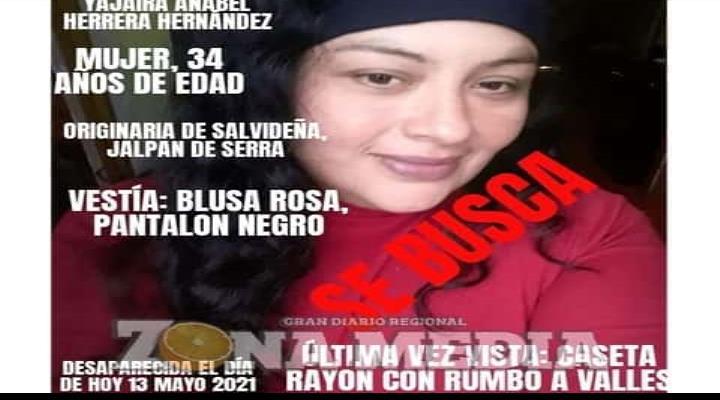 Buscan a extraviada en Crucero de Rayón