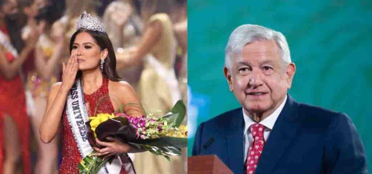 Felicita AMLO a Andrea Meza, es la más guapa