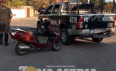 Joven herida al derrapar moto