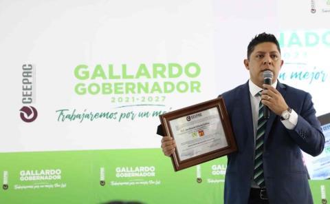 Recibe GALLARDO su constancia de mayoría: es Gobernador Electo de SLP