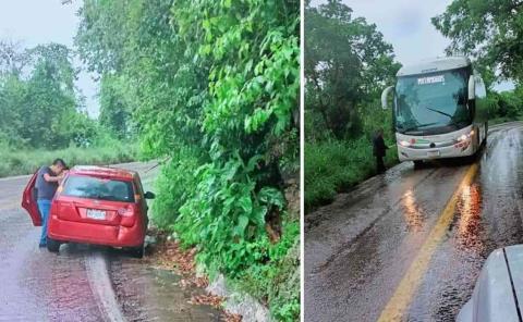 Impactó autobús a automóvil