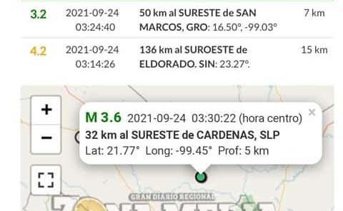 Nuevo temblor hubo en la ZM