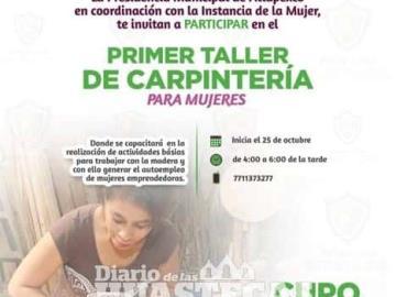 Alcaldía invita a curso de carpintería femenil